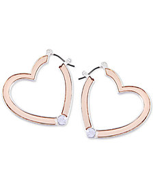 GUESS Two-Tone Crystal Heart Hoop Earrings