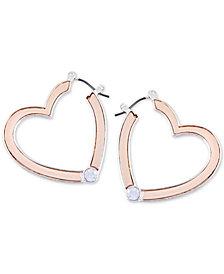 GUESS Two-Tone Crystal Heart Hoop Earrings