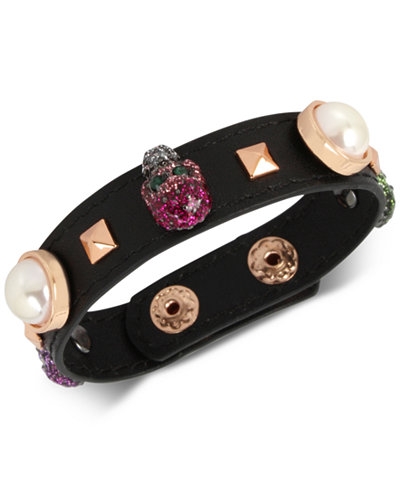 'Betsey Johnson Rose Gold Skull Leather Bracelet