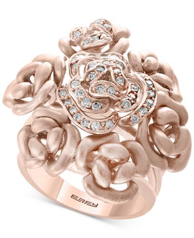 EFFY® Diamond Bouquet Ring (1/3 ct. t.w.) in 14k Rose Gold