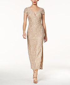 Connected Sequined Lace Column Gown