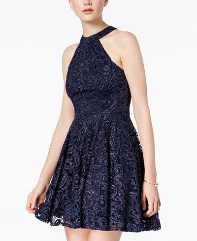 B Darlin Juniors' Glitter Lace Halter Dress