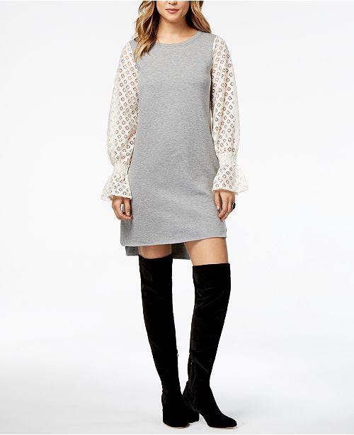 09555a5139 kensie Lace-Contrast Sweater Dress - Dresses - Women - Macy s