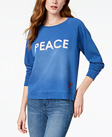 PEACE LOVE WORLD Faded Peace-Graphic Sweatshirt