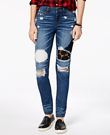 Rewash Juniors' Ripped Lace-Repaired Skinny Jeans