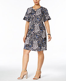 NY Collection Plus Size Printed Keyhole Shift Dress