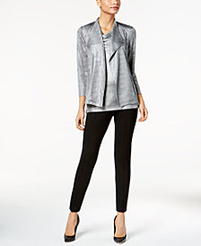 Kasper Metallic Moto Blazer, Metallic Shell & Skinny Pants