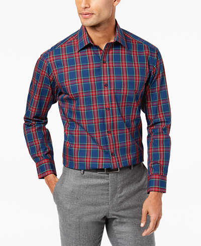 Club Room Men's Classic/Regular Fit Print Dress Shirt, Created for Macy's