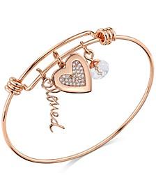"Rose Gold-Tone ""Loved"" Crystal Heart Adjustable Bangle Bracelet in Stainless Steel"