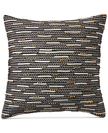 "CLOSEOUT! Hotel Collection Global Stripe Beaded 22"" Square Decorative Pillow, Created for Macy's"