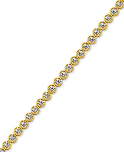 Diamond Accent Circle Link Bracelet in 18k Gold over Fine Silver Plate