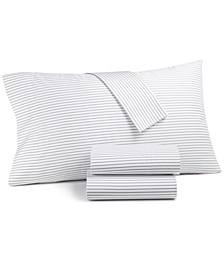 Printed Pinstripe Twin 3-pc Sheet Set, 550 Thread Count, Created for Macy's