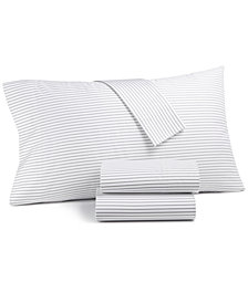 Charter Club Damask Designs Printed Pinstripe Standard Pillowcase Pair, 500 Thread Count, Created for Macy's