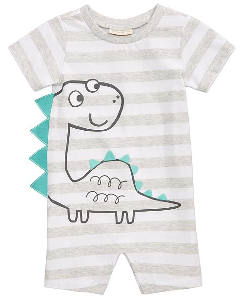 First Impressions Striped Cotton Dinosaur Romper, Baby Boys, Created for Macy's