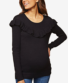Motherhood Maternity Ruffled Scoop-Neck Sweater