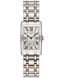 Longines Women's Swiss DolceVita 18K Rose Gold & Stainless Steel Bracelet Watch 23x37mm