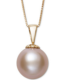Belle De Mer Pink Cultured Freshwater Pearl (11mm) Pendant Necklace in 14k Gold, Created for Macy's