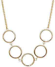 Textured Circle Collar Necklace in 10k Gold