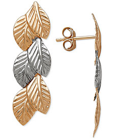 Two-Tone Leaf Drop Earrings in 14k Gold & White Gold