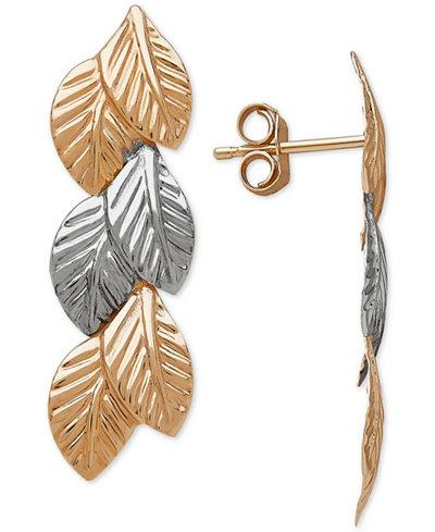Two-Tone Leaf Drop Earrings in 14k Gold & White Gold