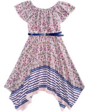 Pink & Violet Floral-Print Dress, Big Girls 5434295