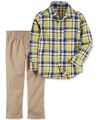 Carter's 2-Pc. Plaid Cotton Shirt & Pants Set, Toddler Boys