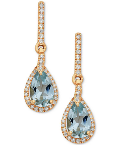 Aquamarine (1-1/3 ct. t.w.) & Diamond (1/5 ct. t.w.) Drop Earrings in 10k Gold