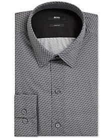 Robbie BOSS Men's Slim-Fit Cotton Poplin Button Down Shirt