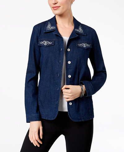 Alfred Dunner Montego Bay Studded Embroidered Denim Jacket