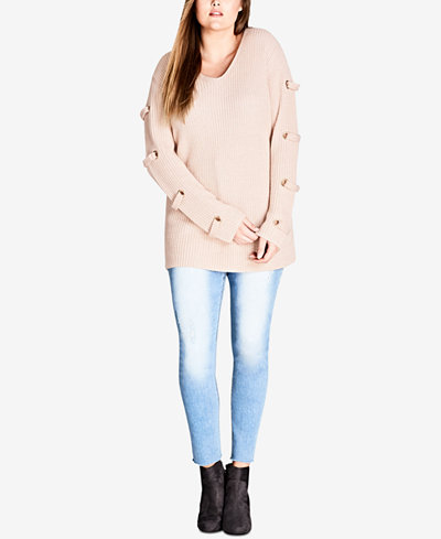 City Chic Trendy Plus Size Lace-Up Tunic Sweater