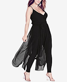 City Chic Trendy Plus Size Sheer-Skirt Jumpsuit