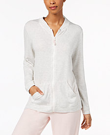 HUE® Solid Zipper-Front Pajama Top