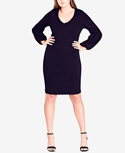 City Chic Trendy Plus Size Bishop-Sleeve Sheath Dress