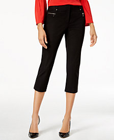 Alfani Bi-Stretch Zip-Detail Capri Pants, Created for Macy's