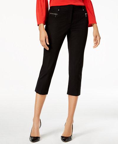Alfani Petite Zip-Pocket Skinny Capri Pants, Created for Macy's