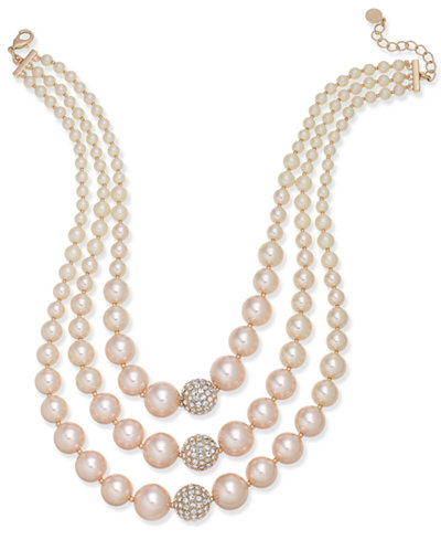 Charter Club Rose Gold-Tone Pavé & Pink Imitation Pearl Triple-Row Necklace, Created for Macy's