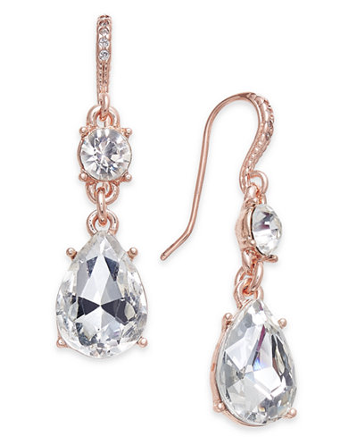 Charter Club Rose Gold-Tone Crystal Drop Earrings, Created for Macy's