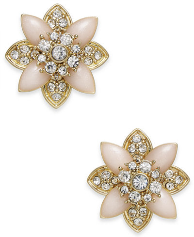 Charter Club Gold-Tone Crystal & Pink Stone Stud Earrings, Created for Macy's