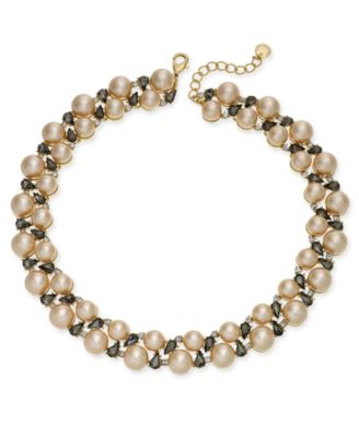 Gold-Tone Crystal & Imitation Pearl Collar Necklace, Created for Macy's