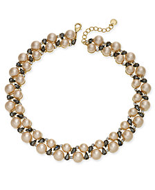 Charter Club Gold-Tone Crystal & Imitation Pearl Collar Necklace, Created for Macy's
