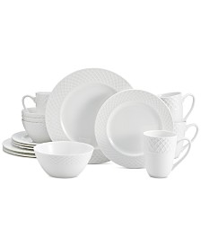 Mikasa Trellis White 16-Pc. Dinnerware Set, Service For 4