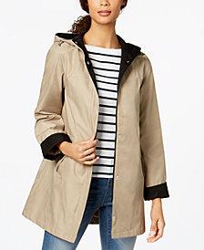 Jones New York Hooded Colorblocked Raincoat