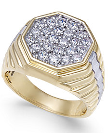 Men's Diamond Two-Tone Octagon Cluster Ring (1 ct. t.w.) in 10k & Rhodium-Plate