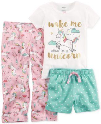 New Carter/'s 4-Piece Unicorn Pajama Set Toddler Girls 3 4 5