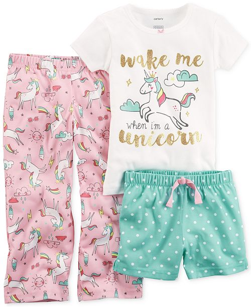 a7fd6abe14 Carter s 3-Pc. Unicorn Pajama Set