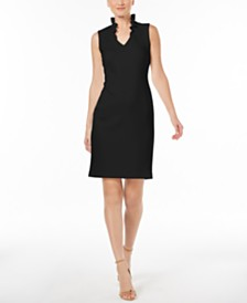 Calvin Klein Petite Ruffle-Neck Sheath Dress