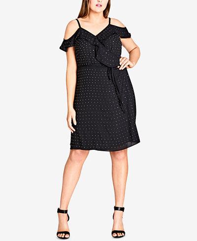 City Chic Trendy Plus Size Cold-Shoulder Wrap Dress