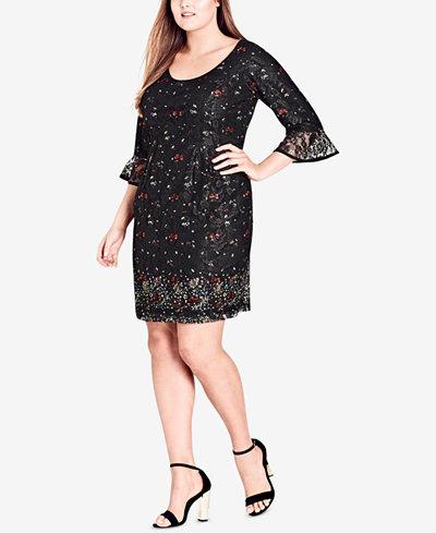 City Chic Trendy Plus Size Printed Lace Sheath Dress
