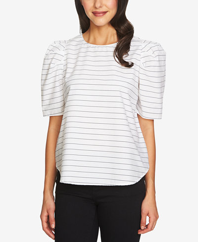 1.STATE Striped Puff-Sleeve Top
