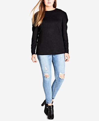 City Chic Trendy Plus Size Puff-Shoulder Sweatshirt